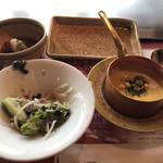南海グリル - サラダ、コーンポタージュスープ