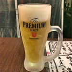 大衆焼き鳥酒場 やきとりさんきゅう - プレミアムモルツ(中ジョッキ)