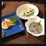寿司処かぐら - カマンベールたまり漬け・白えび南蛮漬け・牡蠣塩辛