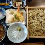 手打ち蕎麦 野和 - 料理写真:野和セット ミニ天ぷら付(1450円+税)