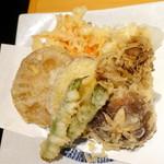 そば一仁 - 季節の野菜天ぷら800円
