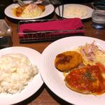 銀座ライオン - 牛肉コロッケ&ポークソテー トマトチーズ焼き
