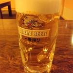 焼き鳥・もつ鍋 一揆 - 生ビールは一番搾り通常450円税抜がハッピーアワーで199円税込