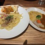 タベルナ トーキョー - 「炙り板うにのスパゲッティ(塩)L」1,090円+「ミニ彩り野菜スパイシーカレーライス」250円