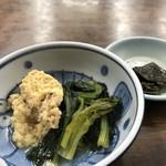 金時食堂 - たまごとほうれん草の小鉢(2019.1.15)