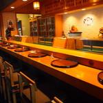 喜州寿司 - 店内(カウンター席)