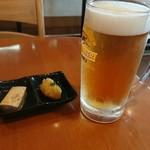 ふるたちばな - 料理写真:生ビールと付きだし