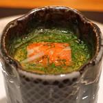 神楽坂 鉄板焼 中むら - 帆立貝の茶碗蒸し ズワイガニと七草のお吸い物