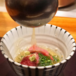 神楽坂 鉄板焼 中むら - ガーリック ライスの出汁漬け シャトーブリアンのシャブシャブで