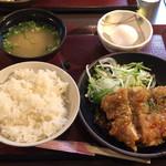 金の蔵 - 油淋鶏定食 ¥650- ランチビール ¥200- (2019/01/15)