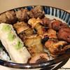 鳥昭 - 料理写真:団子、笹身、皮身、もも肉、肝 焼鳥五本丼
