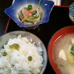 四季の会 - 豆ごはん 酢のもの 具だくさん味噌汁