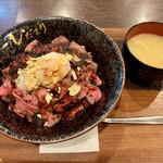 ロースト ビーフ ひだまり - ローストビーフ丼 大盛り(ご飯少なめ) 1100円 サラダバー付
