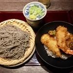 高田屋 - ごまそばと天丼のセットの蕎麦大盛り