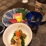 京の家庭料理 おばんざいの店 明り - お刺身と松茸の和え物