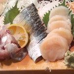 かわなみ鮨 - 刺身盛合せ(鯵・鯖・帆立)