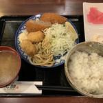 恵比寿和顔 - ミックスフライ定食/メンチカツ&カキフライ(850円) 2019.1