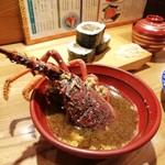 桂 - 食べた伊勢エビはサービスで海老汁にしてくれる
