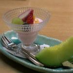 奥州秋保温泉 蘭亭 - デザート:冬苺のデザート フルーツ ブルーベリー ミント