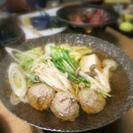 奥州秋保温泉 蘭亭 - 鍋物:合鴨つみれ鍋 豆腐 水菜 焼き葱 きの子