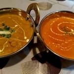 アジアンキッチンからうま - からうまセットのカレー2種(日替わり&選べるカレー) 日替わりは豆とチキンのカレー、選べる方はバター海老カレーにしたよ。