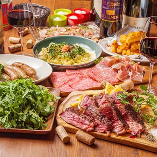 和牛や旬の素材を、たっぷり盛り込んだコース料理をご用意