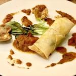 キマグレビストロ ジジ - 魚料理  鯛の春巻き トマトソース