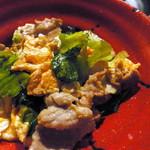 高取酒匠 - 料理写真:豚バラ・卵・青菜の炒めもの ¥380。