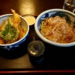 こんぴらうどん藤吉 - 料理写真:こんぴらうどん大盛とミニ天丼のセット 1150円