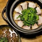 100411670 - 鯖と菜の花土鍋飯、布海苔味噌汁