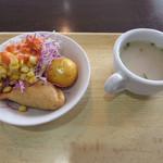 100412532 - サラダ+茹で玉子+サモサ、チキンスープ(サラダバー)
