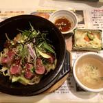 Cafe レスト 花×華 - 厳選牛の石焼きステーキ丼スモール