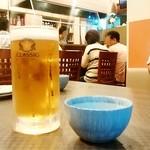 かかし - かかし@帯広 生ビール お通し(たこわさ)