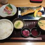 産直青魚専門 新宿 御厨 - 「トロ鯖藻塩炭火焼き定食」(¥1,100)