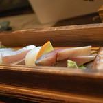 和食 七福神 - 2019.1 お刺身の盛り合わせ(1,500円~)真鯛、カンパチ、甲イカ、〆サバ、地ダコ