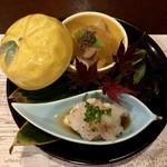 韻松亭 - 白子ポン酢、長芋と鮑と林檎の柿のゼリー寄せ