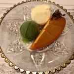 韻松亭 - 柿、バニラと抹茶アイス