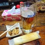 だるま - 生ビールにお通しです
