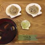 やすみ亭 - 料理写真:鴨ネギ貝皿そば 二八