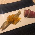 ル マルタン ペシュール - 料理写真:ワカサギと鴨の燻製ハム