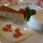 フランス料理遊心 - ブランマンジェとしっとりケーキに苺添え