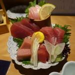 吟醸マグロ - まぐろ刺し盛合せ(980円)