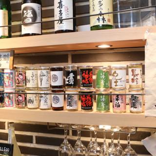 日本全国から取り寄せた名酒のカップ酒を多数ご用意!