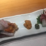 趣肴 あおき - ヒラメ、しめ鯖、赤貝、雲丹、ヤリイカ、マグロ、甘えびのお造り
