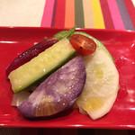 100547231 - お通しの野菜のピクルス                       浅漬けで好みでした☆                       サラダ感覚で食べれます。