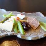 徳山鮓 - 公魚、猪・熊・鹿のテリーヌの山椒ソース、隠元の荏胡麻和え、種々の野菜