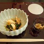 10059798 - 松茸と菊の和え物、鱧の子煮