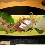 銀座みやま - 御造り 真鯛 アオリイカ 釣り鯵
