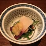 Shunzentamusakesouan - 鯨ベーコン、水菜、わさびの葉、酢味噌和え