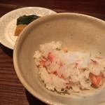 100609529 - 蟹ご飯、お漬物、茸汁